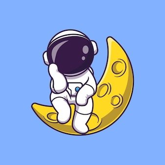 Astronauta sentado en la ilustración de icono de vector de dibujos animados de luna. concepto de icono de tecnología de ciencia aislado vector premium. estilo de dibujos animados plana