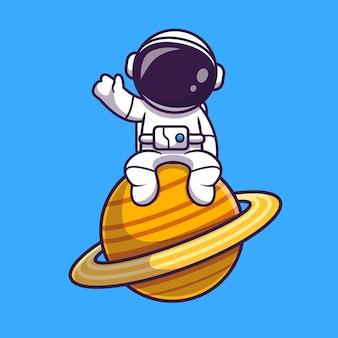 Astronauta sentado en el planeta y agitando la mano de dibujos animados vector icono ilustración. concepto de icono de tecnología de ciencia aislado vector premium. estilo de dibujos animados plana