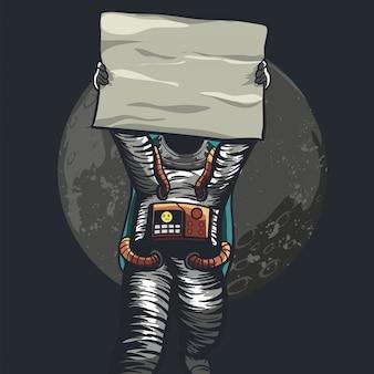 Astronauta sosteniendo papel para protesta