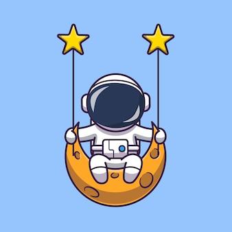 Astronauta swinging on moon icono ilustración. personaje de dibujos animados de la mascota del astronauta. concepto de icono de ciencia aislado