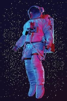 Astronauta en traje espacial en el espacio., vector