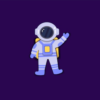 Astronauta en traje espacial flota en un estilo de arte de papel de ingravidez