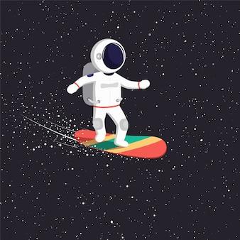 El astronauta viaja en tablero volador en el universo. camino cósmico del hombre del espacio a través del universo.