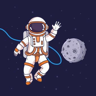 Astronauta volador en el espacio