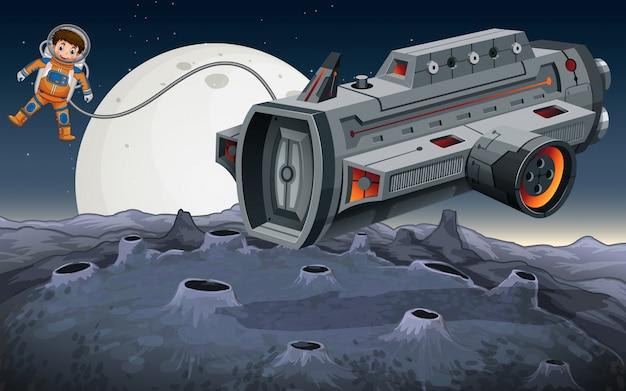 Astronauta volando fuera de la nave espacial en el espacio