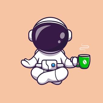Astronauta yoga con ilustración de icono de vector de dibujos animados de café. concepto de icono de bebida de ciencia aislado vector premium. estilo de dibujos animados plana