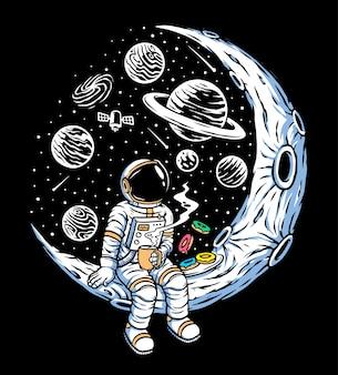 Los astronautas bebiendo café y comiendo donas.