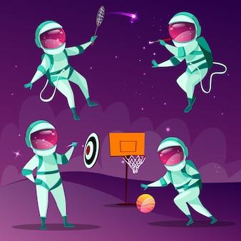 Astronautas divertidos jugando a los dardos, baloncesto, bádminton y dibujo en el espacio exterior