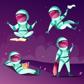 Astronautas en ingravidez. dibujos animados de astronautas o cosmonautas en gravedad cero