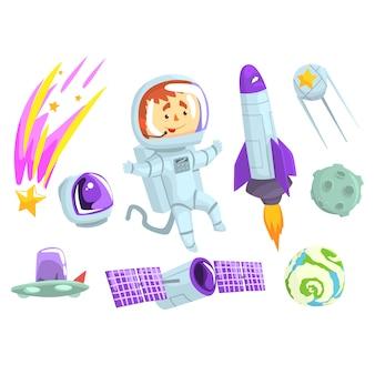 Astronautas en el espacio, establecidos para el diseño de etiquetas.