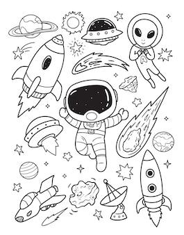 Astronautas exploran el espacio exterior doodle