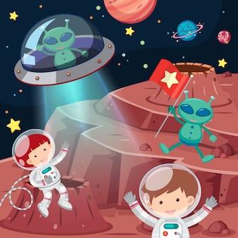 Astronautas y extraterrestres explorando el espacio