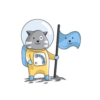 Los astronautas del gato con la bandera de los personajes