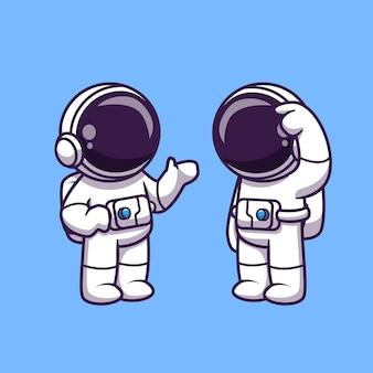 Astronautas hablando ilustración de dibujos animados. concepto de tecnología de ciencia aislado. estilo de dibujos animados plana