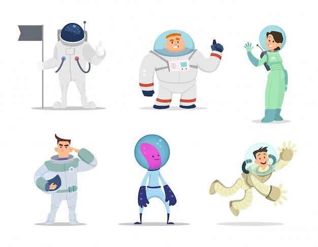Astronautas masculinos y femeninos. personajes de dibujos animados en poses de acción.