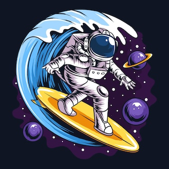 Los astronautas navegan en una tabla de surf en el espacio con ilustraciones de estrellas, planetas y olas del océano