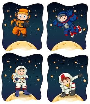 Astronautas volando en el espacio