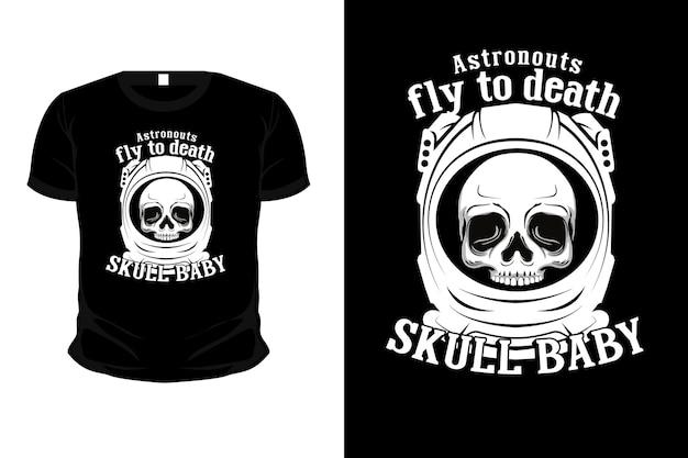 Los astronautas vuelan al diseño de la camiseta de la ilustración de la muerte con el cráneo
