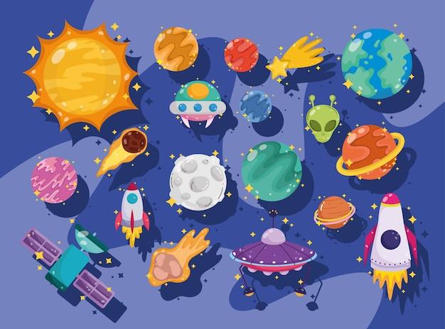 La astronomía de la galaxia espacial en los iconos de conjunto de dibujos animados incluye la ilustración de la luna del cohete ovni alienígena del planeta sol