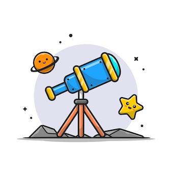Astronomía del telescopio que visualiza el ejemplo lindo del icono de la historieta del planeta y de la estrella linda.