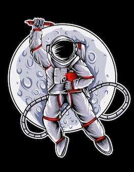 Astronout en la luna