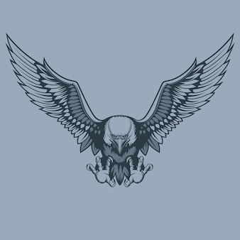 Atacando hermosa águila