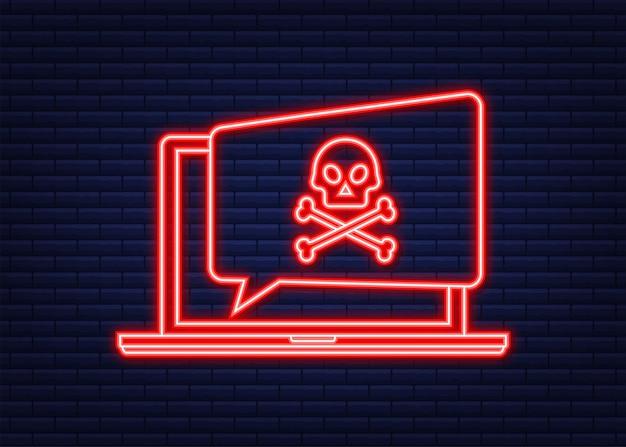 Ataque cibernetico. phishing de datos, computadora portátil, seguridad en internet. alerta de virus. icono de neón. ilustración de stock vectorial.