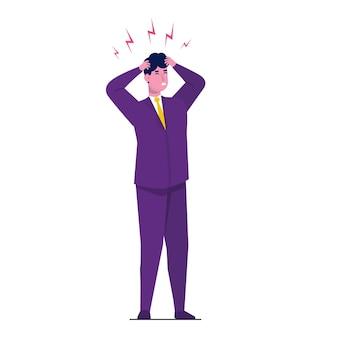 Ataque de dolor de cabeza, fatiga por compasión. ilustración de dolor de cabeza.