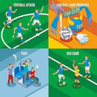 Ataque de fútbol tarjeta roja ventiladores productos composiciones isométricas
