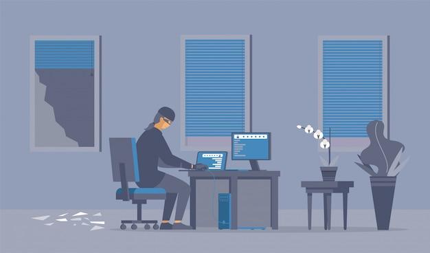 Ataque de hackers, ilustración plana de cibercrimen.