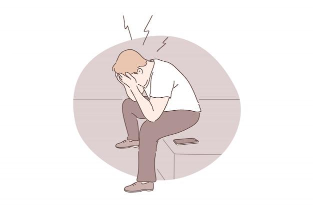 Ataque de pánico, estrés emocional, concepto de depresión.