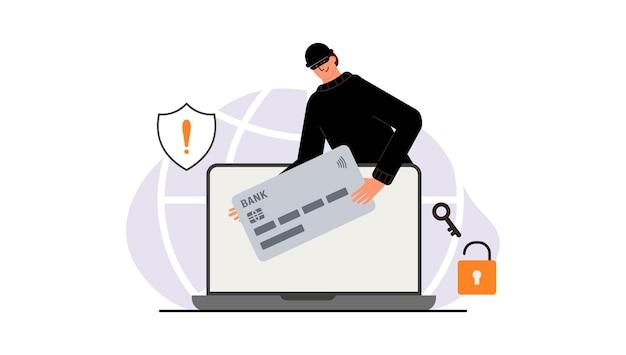 Ataque de piratas informáticos. fraude con datos de usuarios en redes sociales. robo de tarjetas de crédito o débito. phishing en internet, nombre de usuario y contraseña pirateados. ciberdelincuencia y delincuencia. un ladrón en un sitio web en línea en internet.