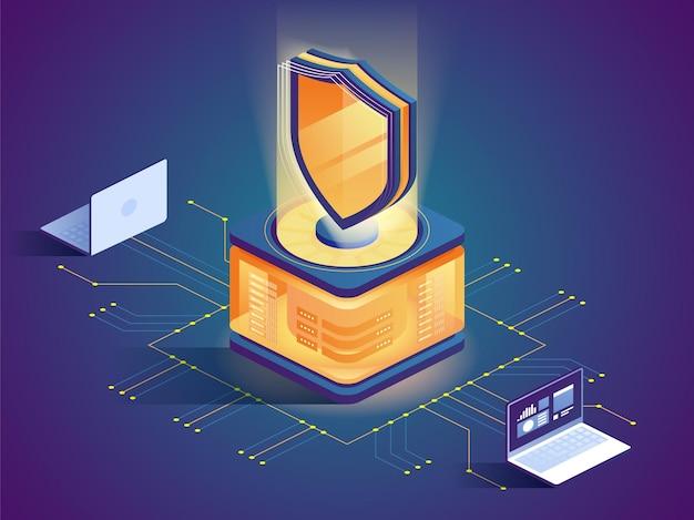 Ataque de piratas informáticos, protección de seguridad, prevención de acceso no autorizado tecnología de cifrado de datos