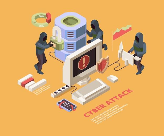 Ataque de piratería. virus informáticos o páginas de phishing concepto isométrico de protección de datos cibernéticos. ataque de pirata informático de ilustración a datos, virus