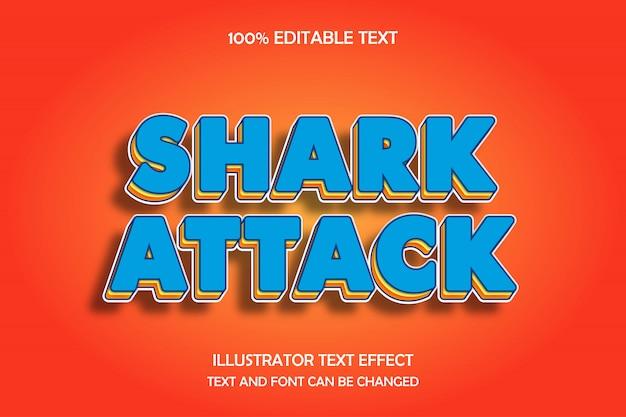 Ataque de tiburón, efecto de texto editable en 3d, amarillo, azul, naranja, patrón, moderno estilo de sombra