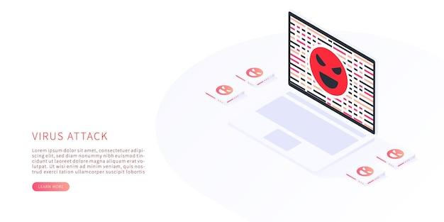 Ataque de virus de virus informático y concepto de delito cibernético diseño isométrico
