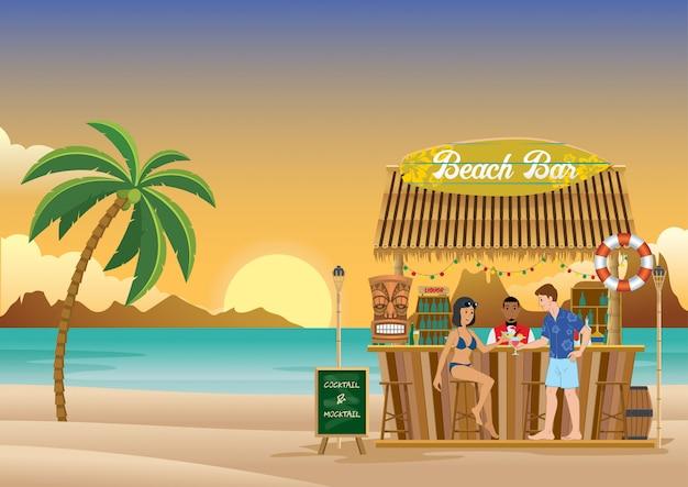 Atardecer en el bar de la playa.