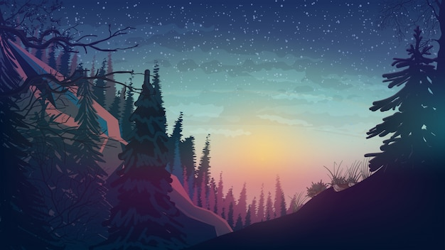 Atardecer en las montañas con bosque de pinos.