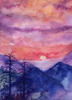 Atardecer en las montañas, ilustración acuarela
