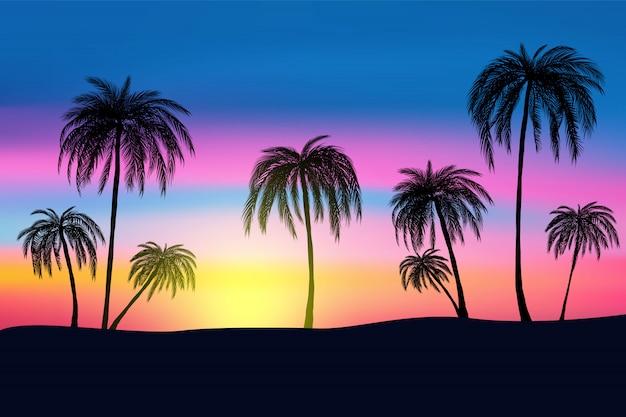 Atardecer y palmeras tropicales con colorido paisaje.