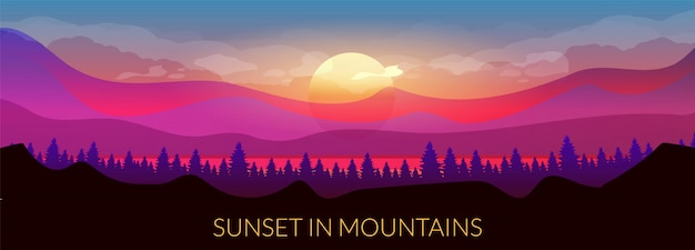 Atardecer en plantilla de banner de color plano de montañas