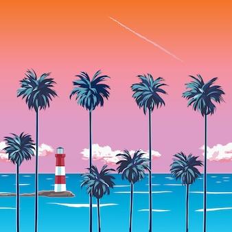 Atardecer en la playa con palmeras, mar turquesa y cielo naranja con nubes. faro a la orilla del mar. un tropical para unas vacaciones de verano. playa de surf. ilustración