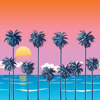 Atardecer en la playa con palmeras, mar turquesa y cielo naranja con nubes. sol sobre el horizonte. tropical para unas vacaciones de verano. playa de surf. ilustración