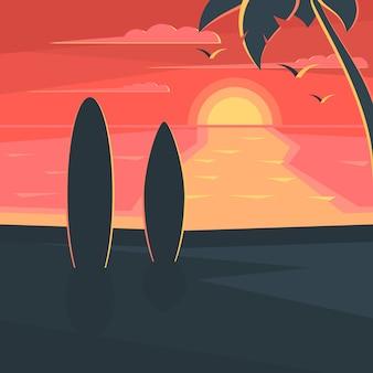 Atardecer en la playa con surf y palmera. paisaje de mar.
