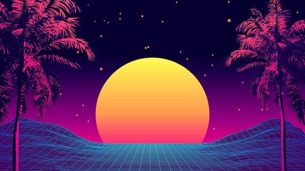 Atardecer tropical estilo retro de los años 80 con silueta de palmera y fondo de cielo degradado. diseño retro clásico de los 80. superficie cibernética de paisaje digital.