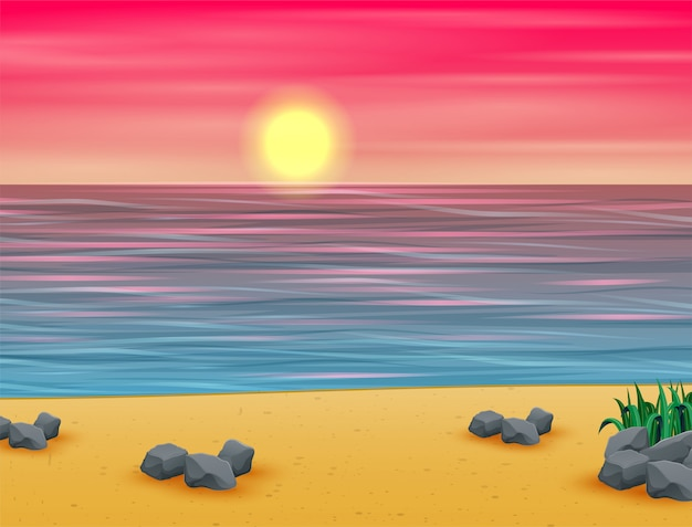 Atardecer de verano rosa en playa tropical