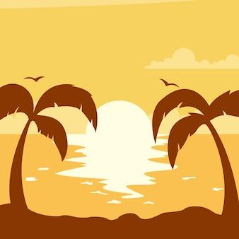 Atardecer de verano con sol en la playa con palmeras.