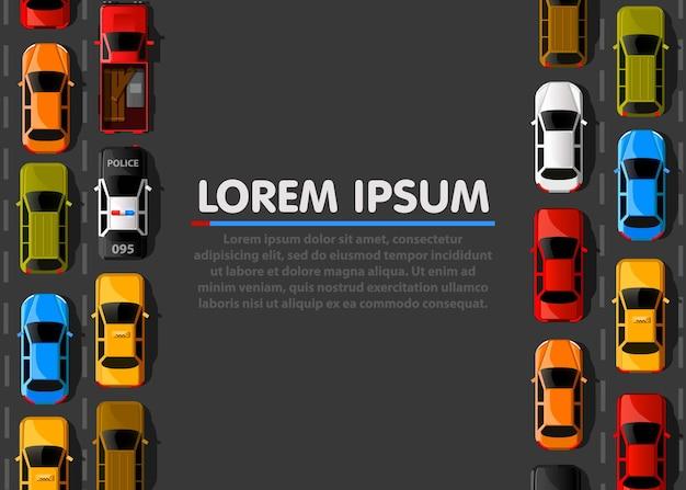Atasco de tráfico en la carretera. transporte por carretera. bandera de la carretera. antecedentes