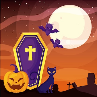 Ataúd con cruz cristiana en la escena del cementerio