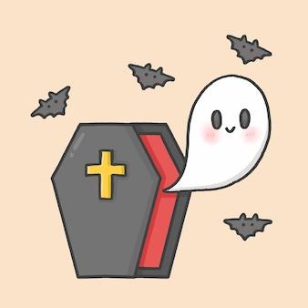 Ataúd y fantasma vector de estilo de dibujos animados dibujados a mano de halloween